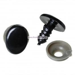 Ochi ovali negri 14x10 mm - set 10 buc