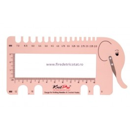 KnitPro masurator andrele elefant roz